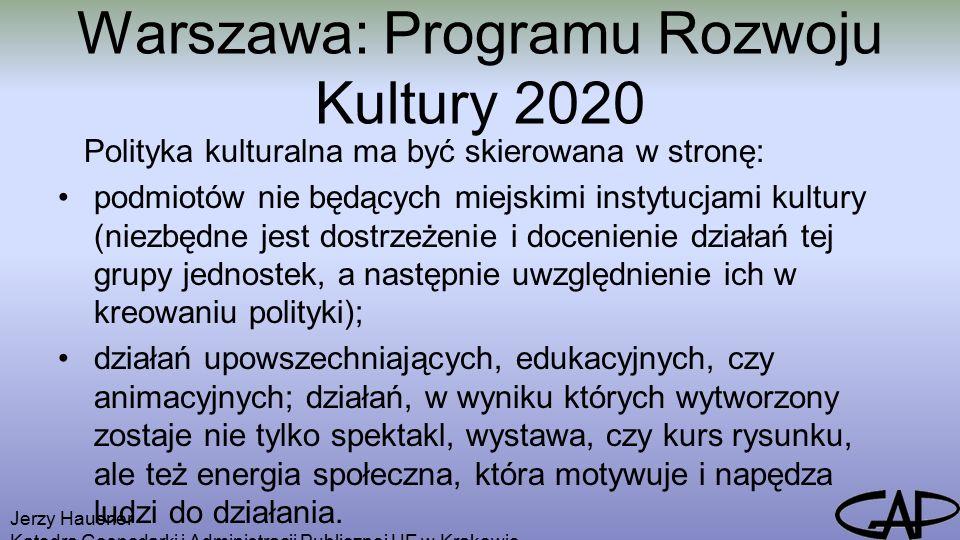 Warszawa: Programu Rozwoju Kultury 2020 Polityka kulturalna ma być skierowana w stronę: podmiotów nie będących miejskimi instytucjami kultury (niezbędne jest dostrzeżenie i docenienie działań tej grupy jednostek, a następnie uwzględnienie ich w kreowaniu polityki); działań upowszechniających, edukacyjnych, czy animacyjnych; działań, w wyniku których wytworzony zostaje nie tylko spektakl, wystawa, czy kurs rysunku, ale też energia społeczna, która motywuje i napędza ludzi do działania.