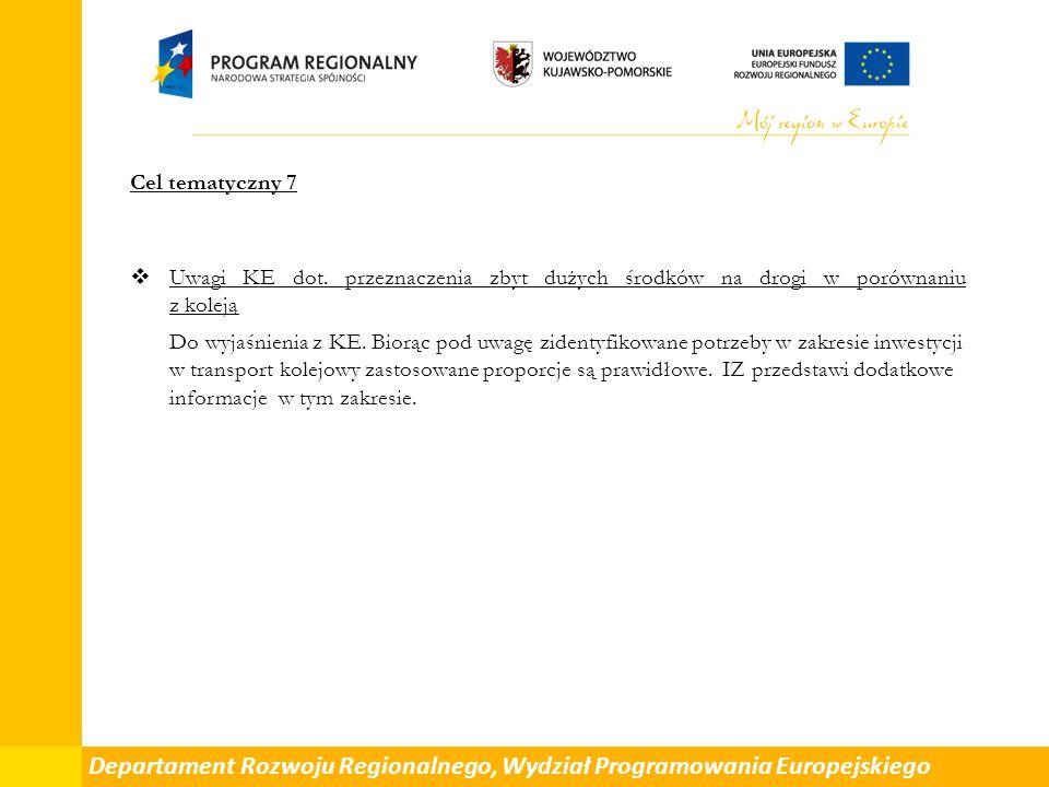 Cel tematyczny 7  Uwagi KE dot.