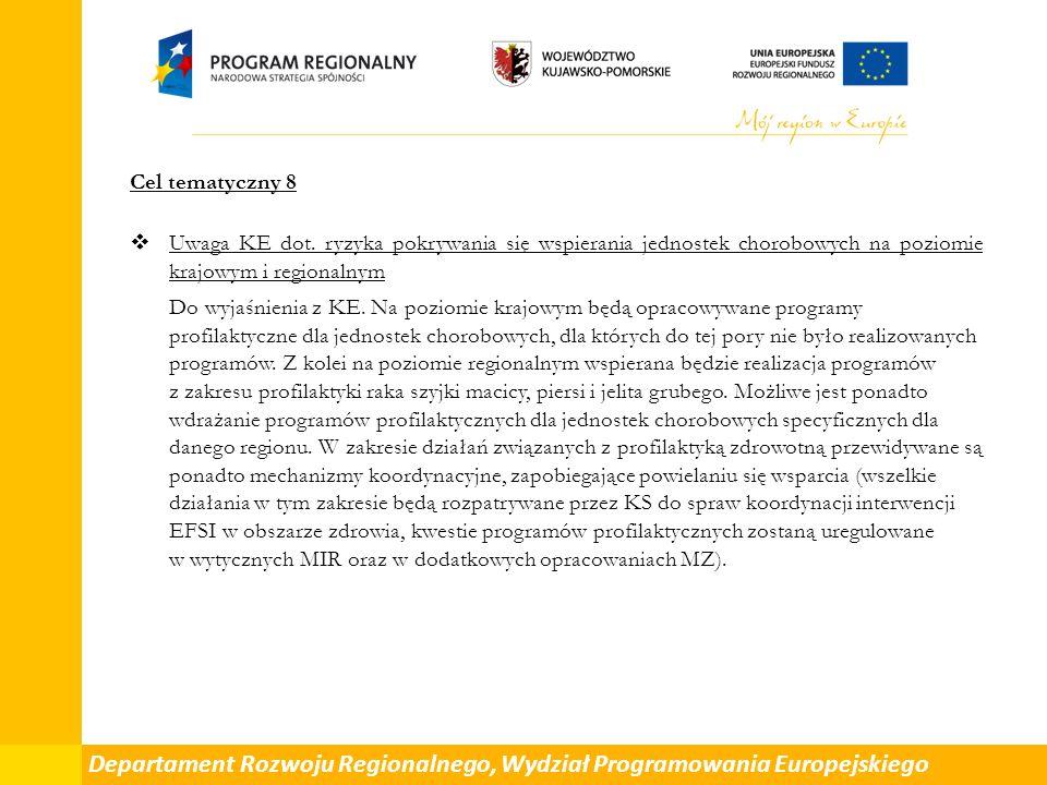 Cel tematyczny 8  Uwaga KE dot.