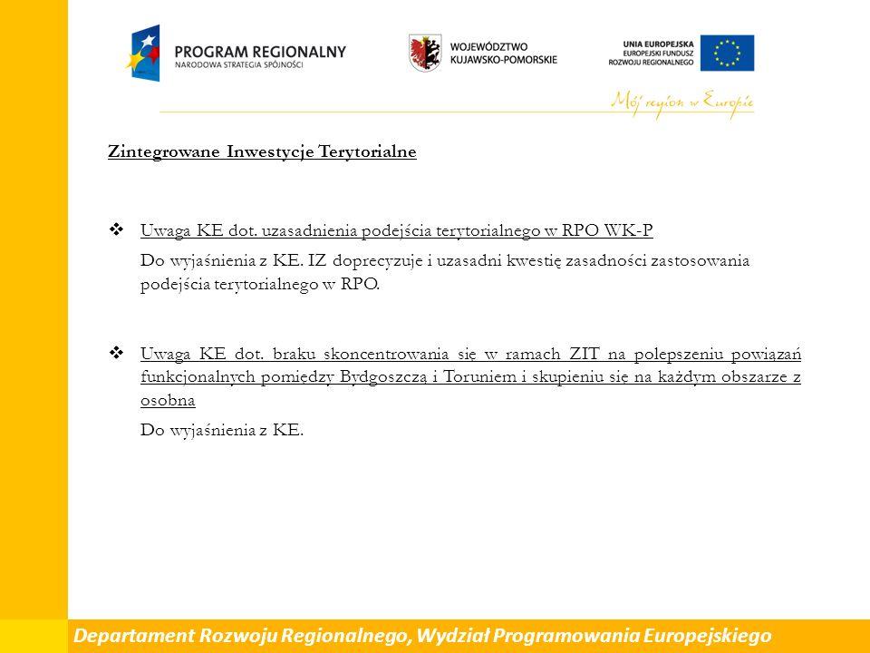 Zintegrowane Inwestycje Terytorialne  Uwaga KE dot.
