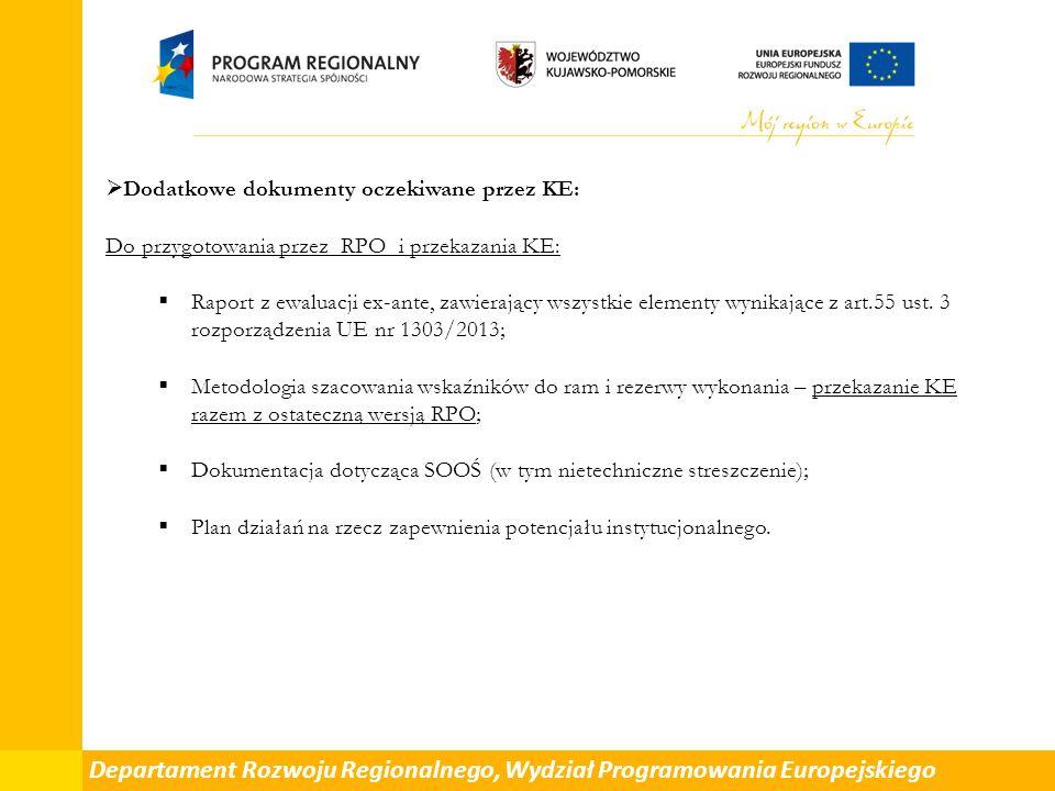 Departament Rozwoju Regionalnego, Wydział Programowania Europejskiego  Dodatkowe dokumenty oczekiwane przez KE: Do przygotowania przez RPO i przekazania KE:  Raport z ewaluacji ex-ante, zawierający wszystkie elementy wynikające z art.55 ust.