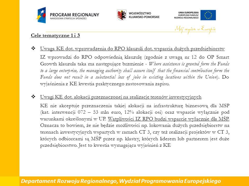 Cele tematyczne 1 i 3  Uwaga KE dot. wprowadzenia do RPO klauzuli dot.
