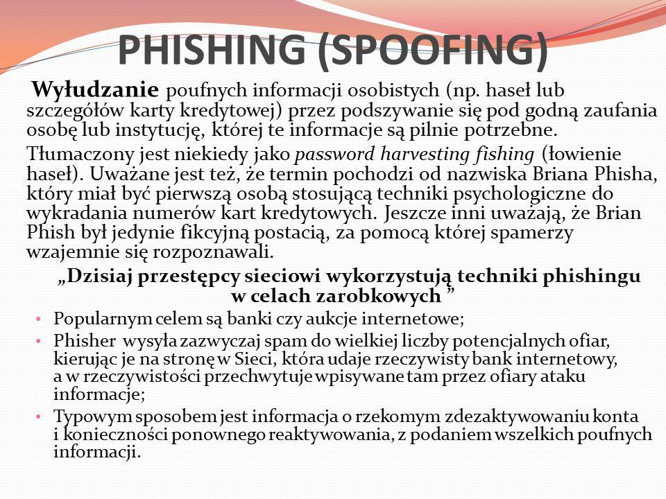 PHISHING (SPOOFING) Wyłudzanie poufnych informacji osobistych (np.