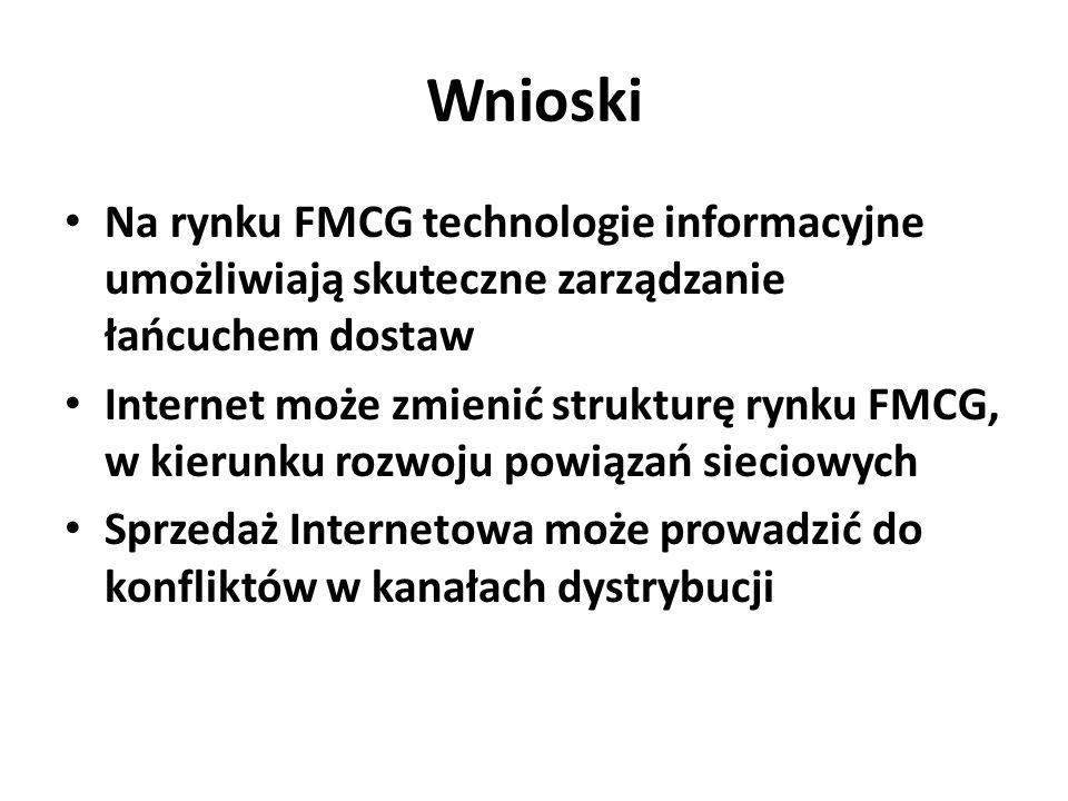 Wnioski Na rynku FMCG technologie informacyjne umożliwiają skuteczne zarządzanie łańcuchem dostaw Internet może zmienić strukturę rynku FMCG, w kierunku rozwoju powiązań sieciowych Sprzedaż Internetowa może prowadzić do konfliktów w kanałach dystrybucji
