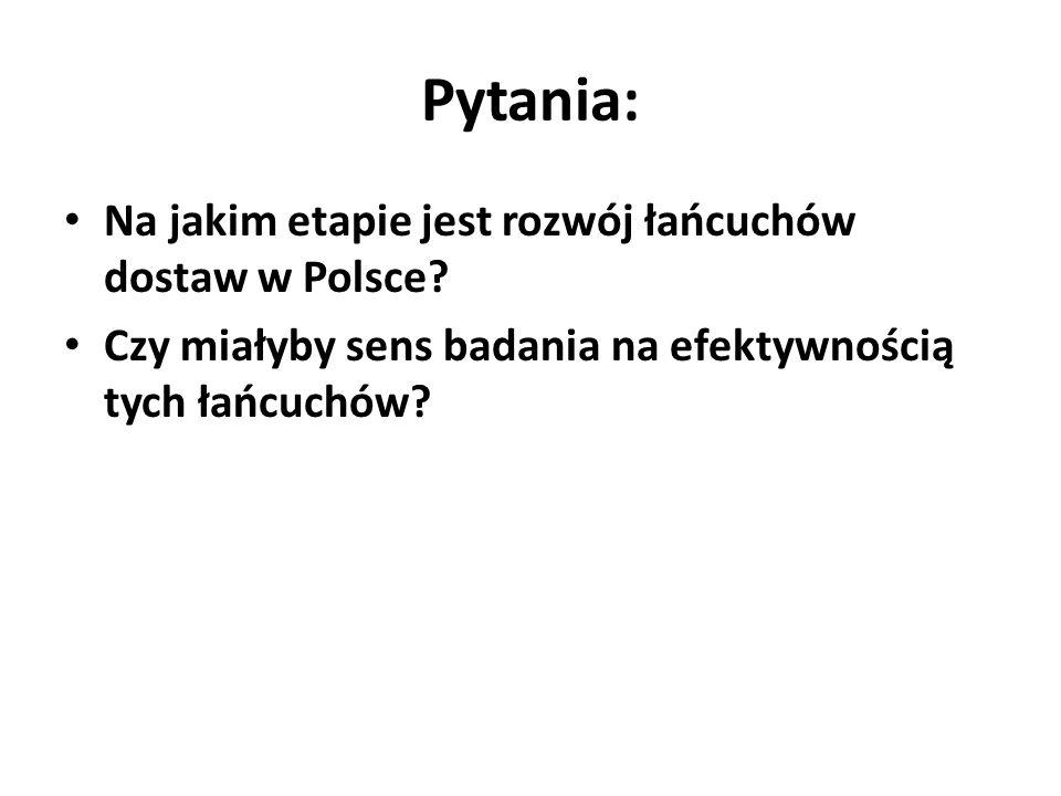 Pytania: Na jakim etapie jest rozwój łańcuchów dostaw w Polsce.