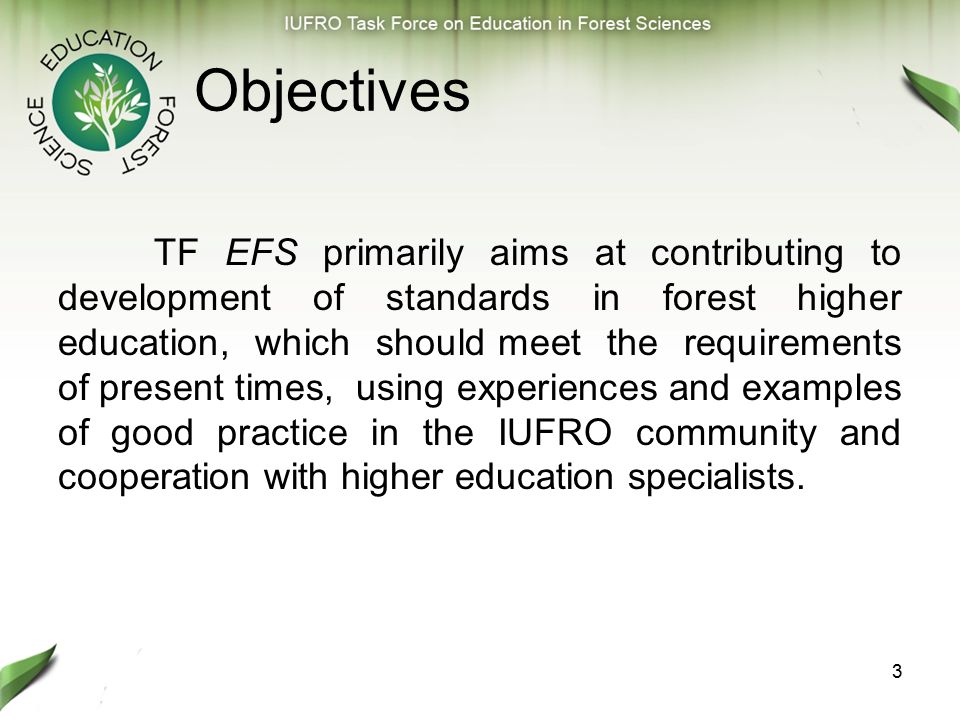 4 TF structure Core group, which consists of about 20 people, includes, among others, vice- rectors of universities, deans of forestry faculties, directors of research institutes, professors who perform various functions in the international educational networks as well as representatives of student organizations.