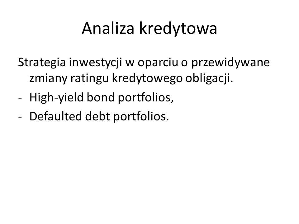 Analiza kredytowa Strategia inwestycji w oparciu o przewidywane zmiany ratingu kredytowego obligacji. -High-yield bond portfolios, -Defaulted debt por
