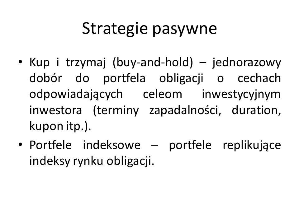 Strategie pasywne Kup i trzymaj (buy-and-hold) – jednorazowy dobór do portfela obligacji o cechach odpowiadających celeom inwestycyjnym inwestora (ter