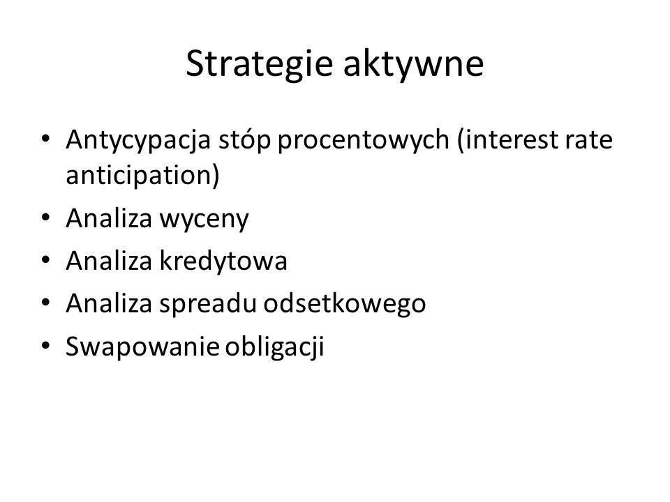 Strategie aktywne Antycypacja stóp procentowych (interest rate anticipation) Analiza wyceny Analiza kredytowa Analiza spreadu odsetkowego Swapowanie o