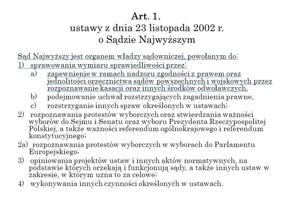 Art. 1. ustawy z dnia 23 listopada 2002 r. o Sądzie Najwyższym Sąd Najwyższy jest organem władzy sądowniczej, powołanym do: 1) sprawowania wymiaru spr