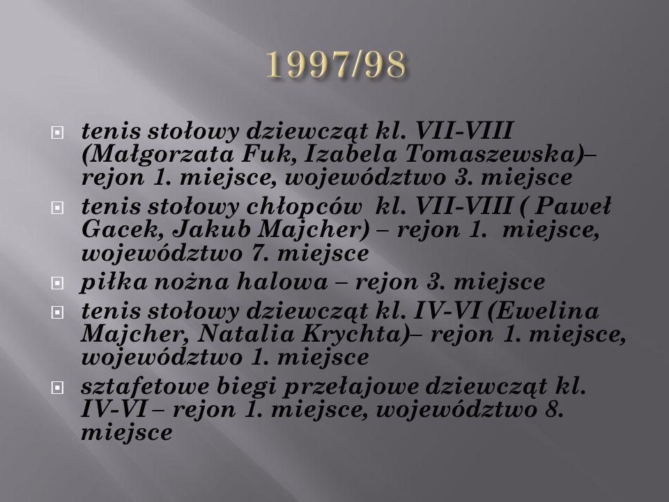  tenis stołowy dziewcząt kl. VII-VIII (Małgorzata Fuk, Izabela Tomaszewska)– rejon 1.