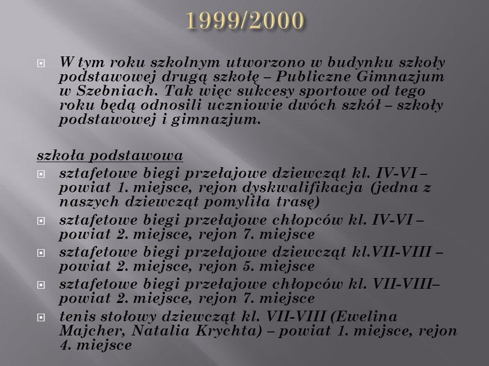  W tym roku szkolnym utworzono w budynku szkoły podstawowej drugą szkołę – Publiczne Gimnazjum w Szebniach.