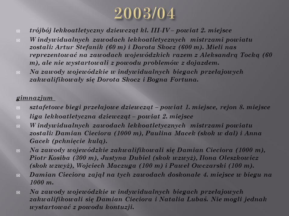  trójbój lekkoatletyczny dziewcząt kl. III-IV – powiat 2.