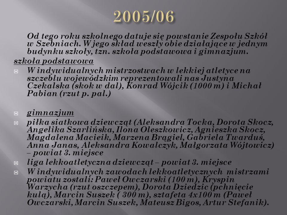 Od tego roku szkolnego datuje się powstanie Zespołu Szkół w Szebniach.