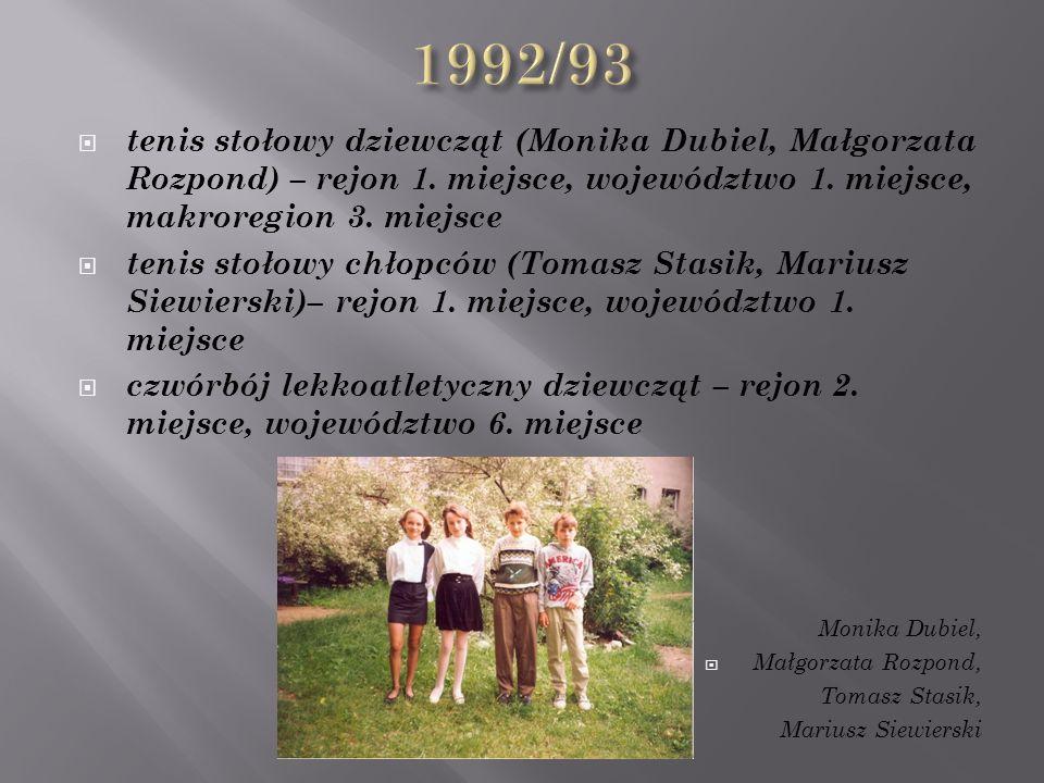  tenis stołowy dziewcząt (Monika Dubiel, Małgorzata Rozpond) – rejon 1.
