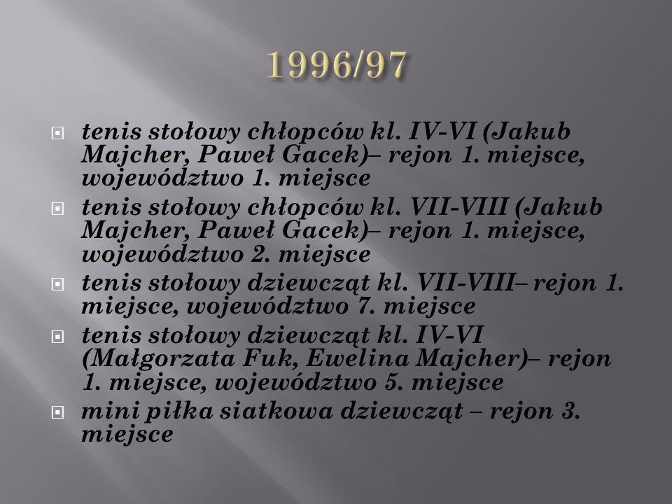  tenis stołowy chłopców kl. VII-VIII (Jakub Majcher, Paweł Gacek)– rejon 1.