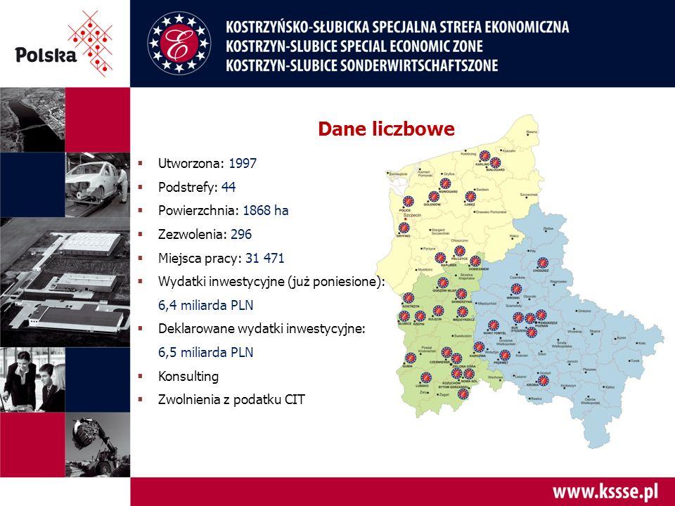  Utworzona: 1997  Podstrefy: 44  Powierzchnia: 1868 ha  Zezwolenia: 296  Miejsca pracy: 31 471  Wydatki inwestycyjne (już poniesione): 6,4 miliarda PLN  Deklarowane wydatki inwestycyjne: 6,5 miliarda PLN  Konsulting  Zwolnienia z podatku CIT Dane liczbowe