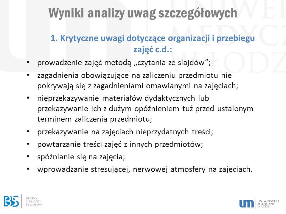 Wyniki analizy uwag szczegółowych 1.