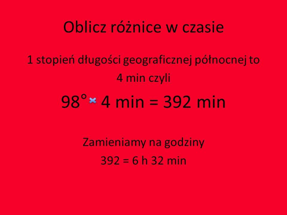 Oblicz różnice w czasie 1 stopień długości geograficznej północnej to 4 min czyli 98° 4 min = 392 min Zamieniamy na godziny 392 = 6 h 32 min