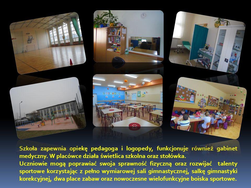 Szkoła zapewnia opiekę pedagoga i logopedy, funkcjonuje również gabinet medyczny. W placówce działa świetlica szkolna oraz stołówka. Uczniowie mogą po