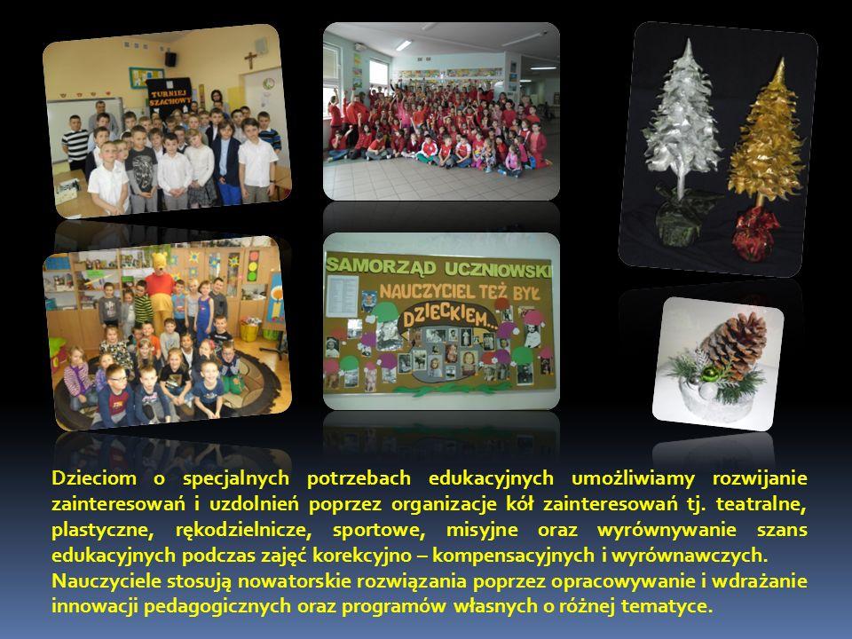 Dzieciom o specjalnych potrzebach edukacyjnych umożliwiamy rozwijanie zainteresowań i uzdolnień poprzez organizacje kół zainteresowań tj.