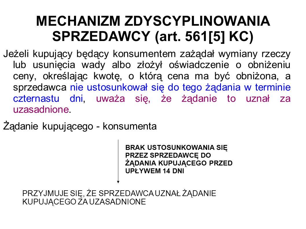 MECHANIZM ZDYSCYPLINOWANIA SPRZEDAWCY (art.