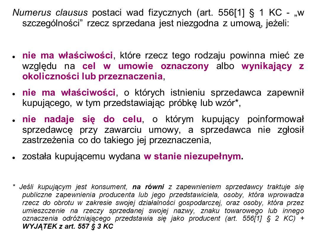 Numerus clausus postaci wad fizycznych (art.