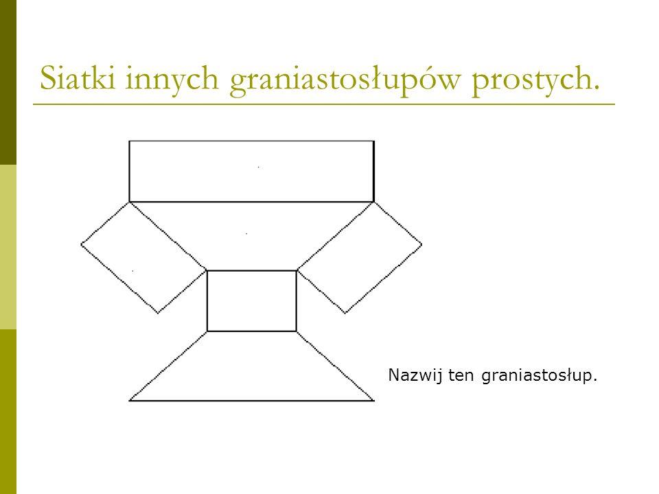 Siatki innych graniastosłupów prostych. Nazwij ten graniastosłup.