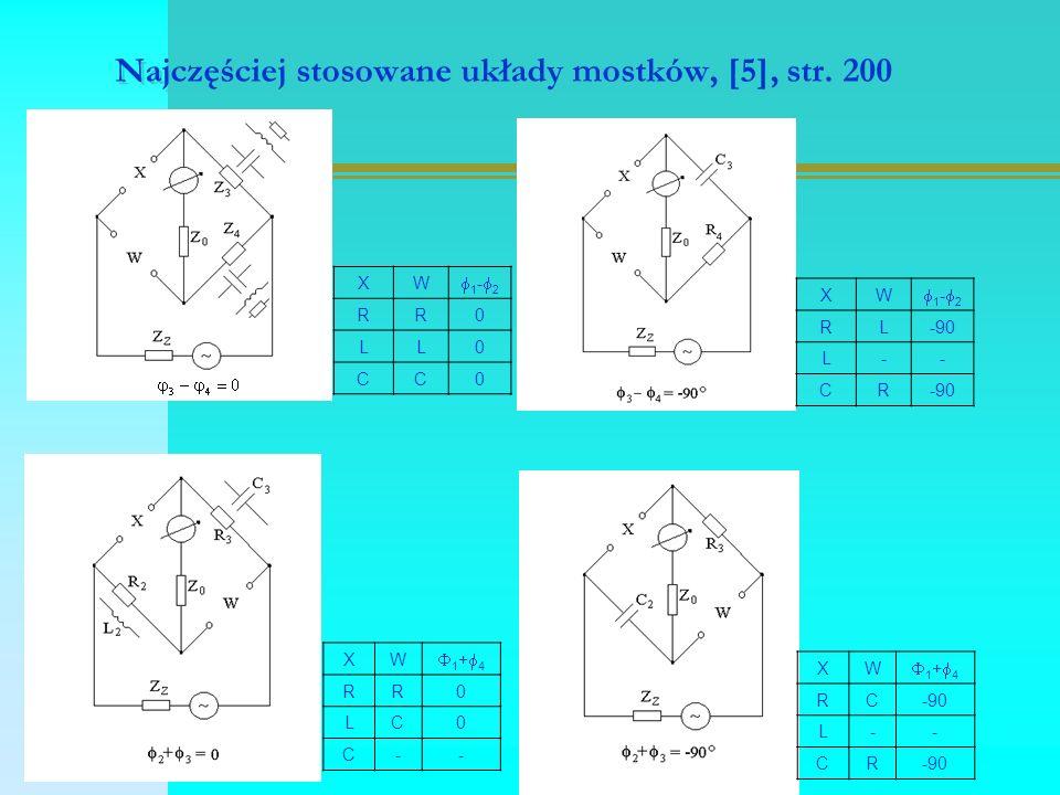 Najczęściej stosowane układy mostków, [5], str. 200 XW 1-21-2 RR0 LL0 CC0 XW 1-21-2 RL-90 L-- CR XW 1+41+4 RR0 LC0 C-- XW 1+41+4 RC L-