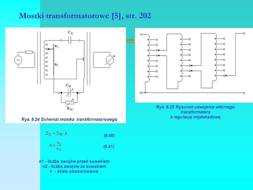 Mostki transformatorowe [5], str. 202 Rys. 8.24 Schemat mostka transformatorowego (8.40) (8.41) n1 - liczba zwojów przed suwakiem n2 - liczba zwojów z