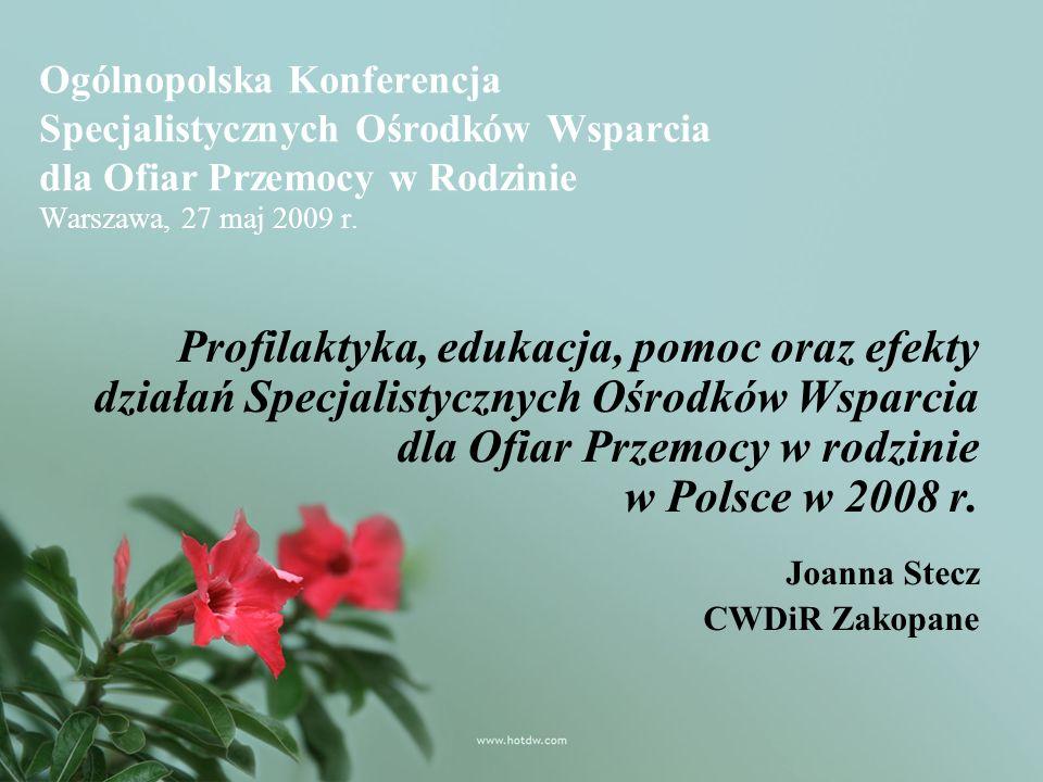 Ogólnopolska Konferencja Specjalistycznych Ośrodków Wsparcia dla Ofiar Przemocy w Rodzinie Warszawa, 27 maj 2009 r.