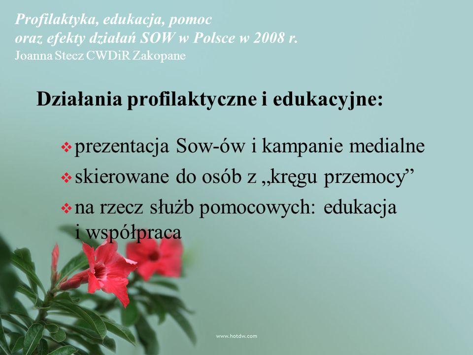 Profilaktyka, edukacja, pomoc oraz efekty działań SOW w Polsce w 2008 r.