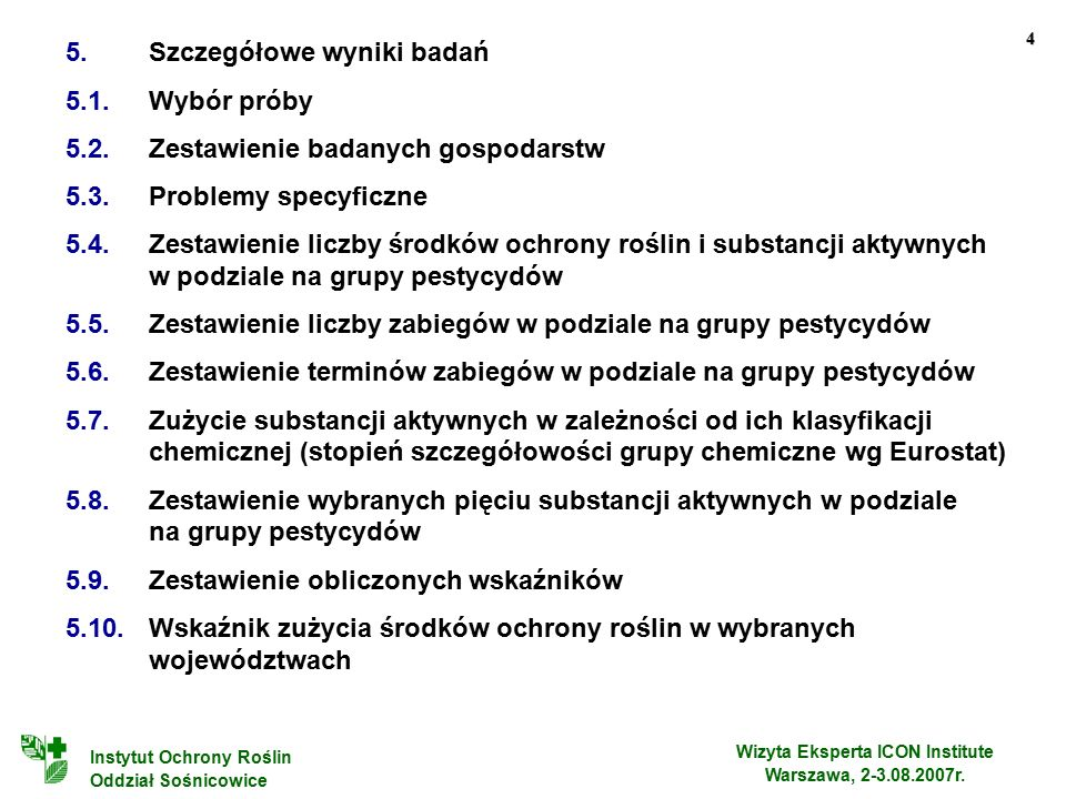 4 Wizyta Eksperta ICON Institute Warszawa, 2-3.08.2007r.