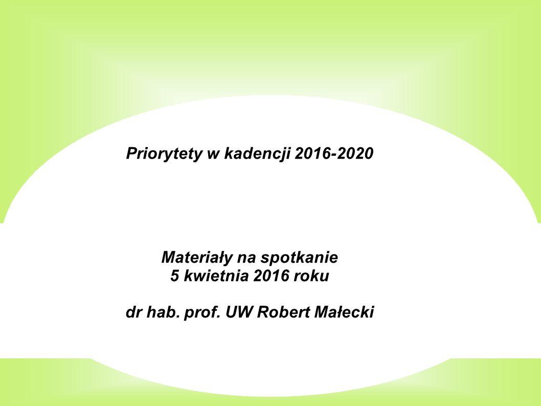Priorytety w kadencji 2016-2020 Materiały na spotkanie 5 kwietnia 2016 roku dr hab.