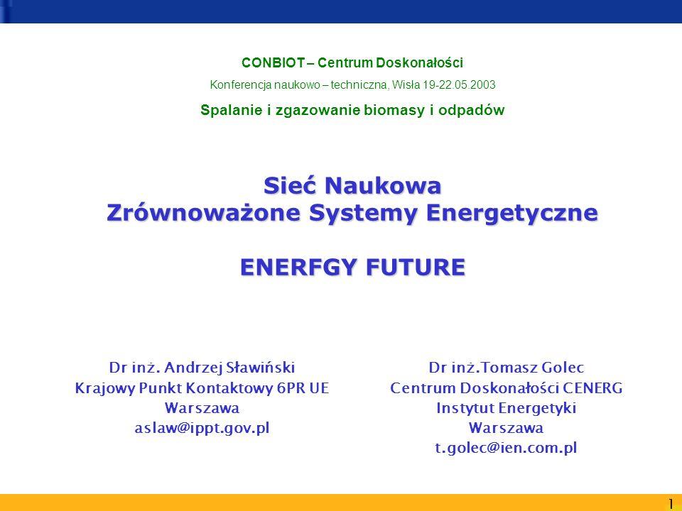 1 Sieć Naukowa Zrównoważone Systemy Energetyczne ENERFGY FUTURE Dr inż. Andrzej Sławiński Krajowy Punkt Kontaktowy 6PR UE Warszawa aslaw@ippt.gov.pl D