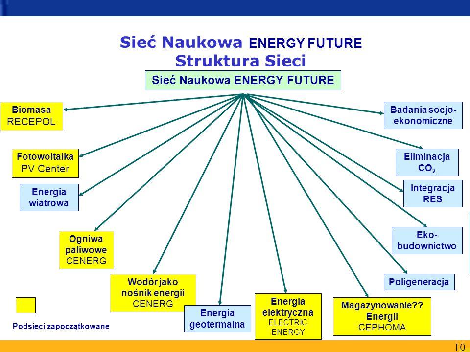 10 Sieć Naukowa ENERGY FUTURE Struktura Sieci Energia elektryczna ELECTRIC ENERGY Sieć Naukowa ENERGY FUTURE Biomasa RECEPOL Fotowoltaika PV Center Ma