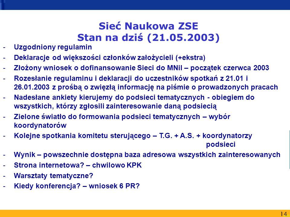 14 Sieć Naukowa ZSE Stan na dziś (21.05.2003) -Uzgodniony regulamin -Deklaracje od większości członków założycieli (+ekstra) -Złożony wniosek o dofinansowanie Sieci do MNiI – początek czerwca 2003 -Rozesłanie regulaminu i deklaracji do uczestników spotkań z 21.01 i 26.01.2003 z prośbą o zwięzłą informację na piśmie o prowadzonych pracach -Nadesłane ankiety kierujemy do podsieci tematycznych - obiegiem do wszystkich, którzy zgłosili zainteresowanie daną podsiecią -Zielone światło do formowania podsieci tematycznych – wybór koordynatorów -Kolejne spotkania komitetu sterującego – T.G.