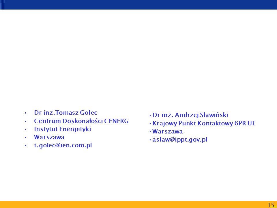 15 Dr inż. Andrzej Sławiński Krajowy Punkt Kontaktowy 6PR UE Warszawa aslaw@ippt.gov.pl Dr inż.Tomasz Golec Centrum Doskonałości CENERG Instytut Energ