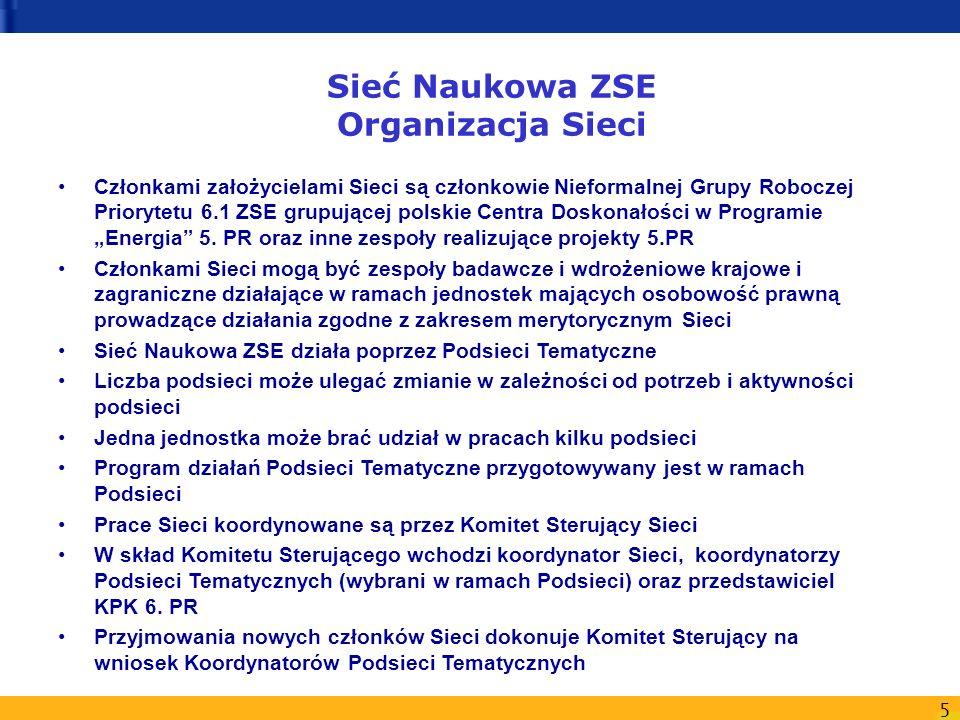 5 Sieć Naukowa ZSE Organizacja Sieci Członkami założycielami Sieci są członkowie Nieformalnej Grupy Roboczej Priorytetu 6.1 ZSE grupującej polskie Cen