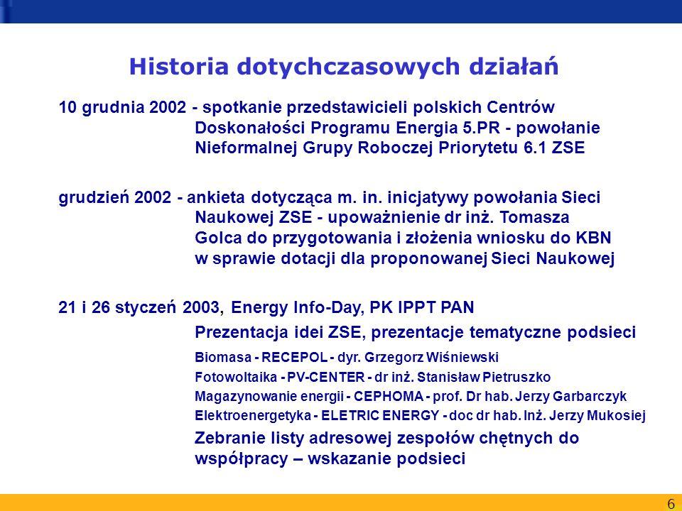 6 Historia dotychczasowych działań 10 grudnia 2002 - spotkanie przedstawicieli polskich Centrów Doskonałości Programu Energia 5.PR - powołanie Nieformalnej Grupy Roboczej Priorytetu 6.1 ZSE grudzień 2002 - ankieta dotycząca m.
