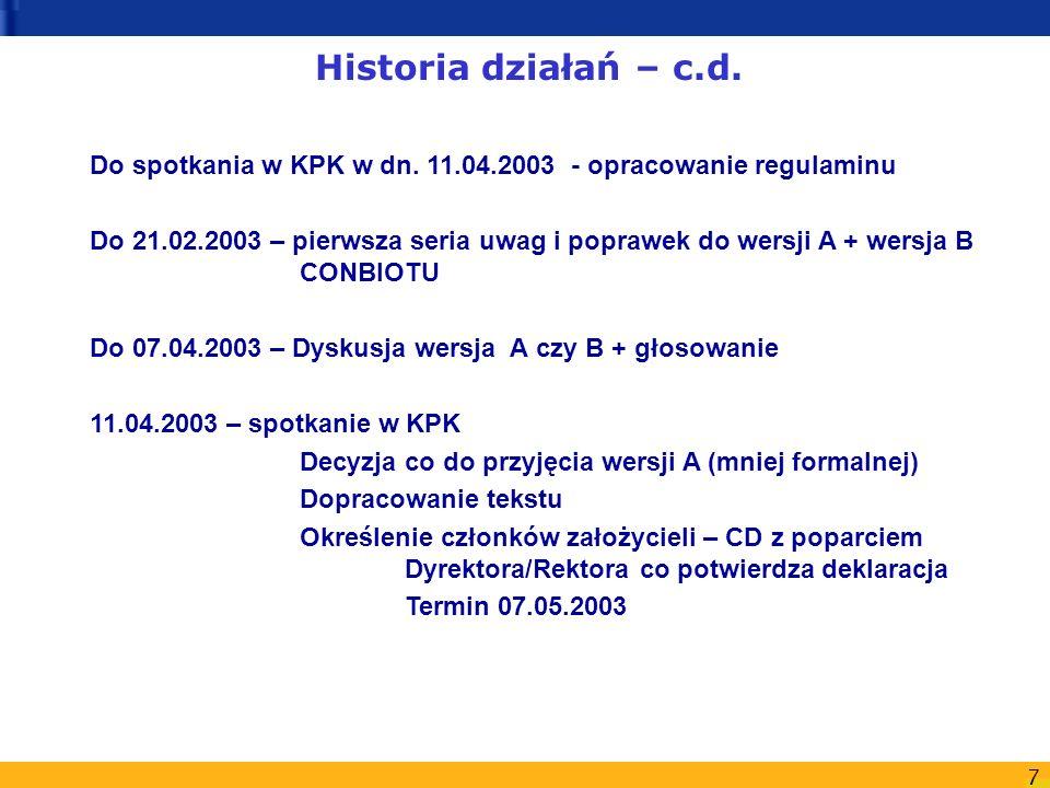 7 Do spotkania w KPK w dn. 11.04.2003 - opracowanie regulaminu Do 21.02.2003 – pierwsza seria uwag i poprawek do wersji A + wersja B CONBIOTU Do 07.04