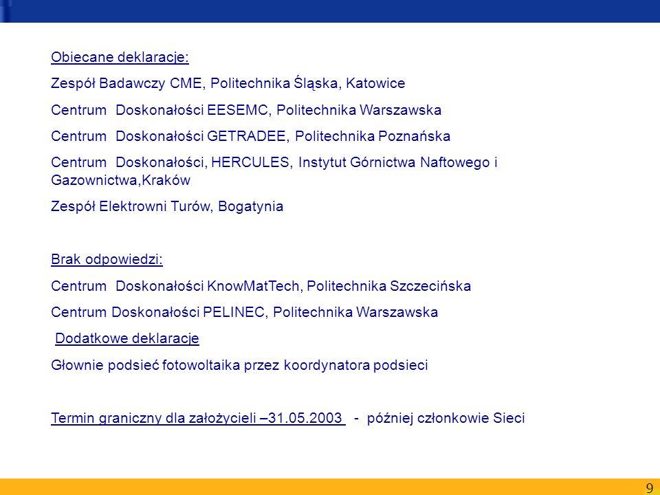 9 Obiecane deklaracje: Zespół Badawczy CME, Politechnika Śląska, Katowice Centrum Doskonałości EESEMC, Politechnika Warszawska Centrum Doskonałości GE