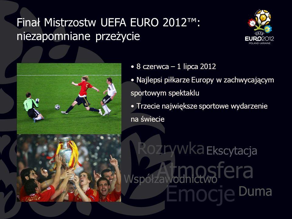 8 czerwca – 1 lipca 2012 Najlepsi piłkarze Europy w zachwycającym sportowym spektaklu Trzecie największe sportowe wydarzenie na świecie Emocje Współzawodnictwo Duma Ekscytacja Atmosfera Rozrywka Finał Mistrzostw UEFA EURO 2012™: niezapomniane przeżycie