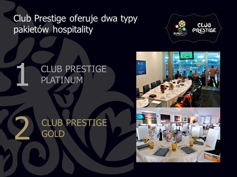 Club Prestige oferuje dwa typy pakietów hospitality CLUB PRESTIGE PLATINUM CLUB PRESTIGE GOLD 1 2