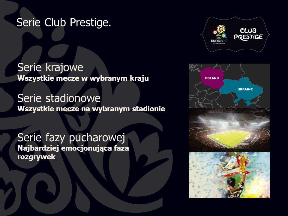 Serie krajowe Wszystkie mecze w wybranym kraju Serie stadionowe Wszystkie mecze na wybranym stadionie Serie fazy pucharowej Najbardziej emocjonująca faza rozgrywek Serie Club Prestige.