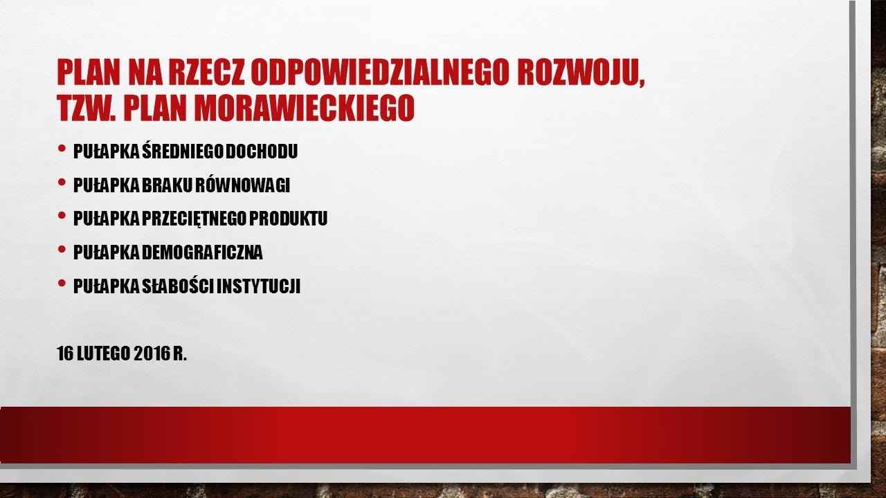PLAN MORAWIECKIEGO CELE POLSKI DO 2020 R.: WZROST INWESTYCJI DO POZIOMU PONAD 25 PROC.