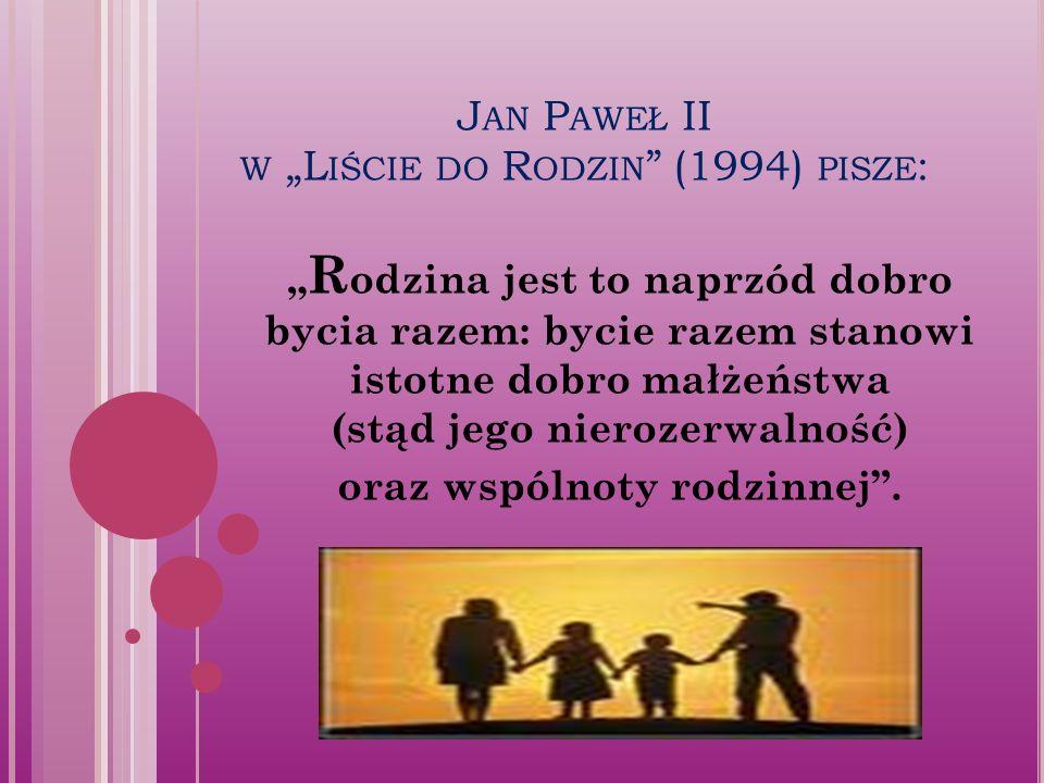 """J AN P AWEŁ II W """"L IŚCIE DO R ODZIN (1994) PISZE : """" R odzina jest to naprzód dobro bycia razem: bycie razem stanowi istotne dobro małżeństwa (stąd jego nierozerwalność) oraz wspólnoty rodzinnej ."""