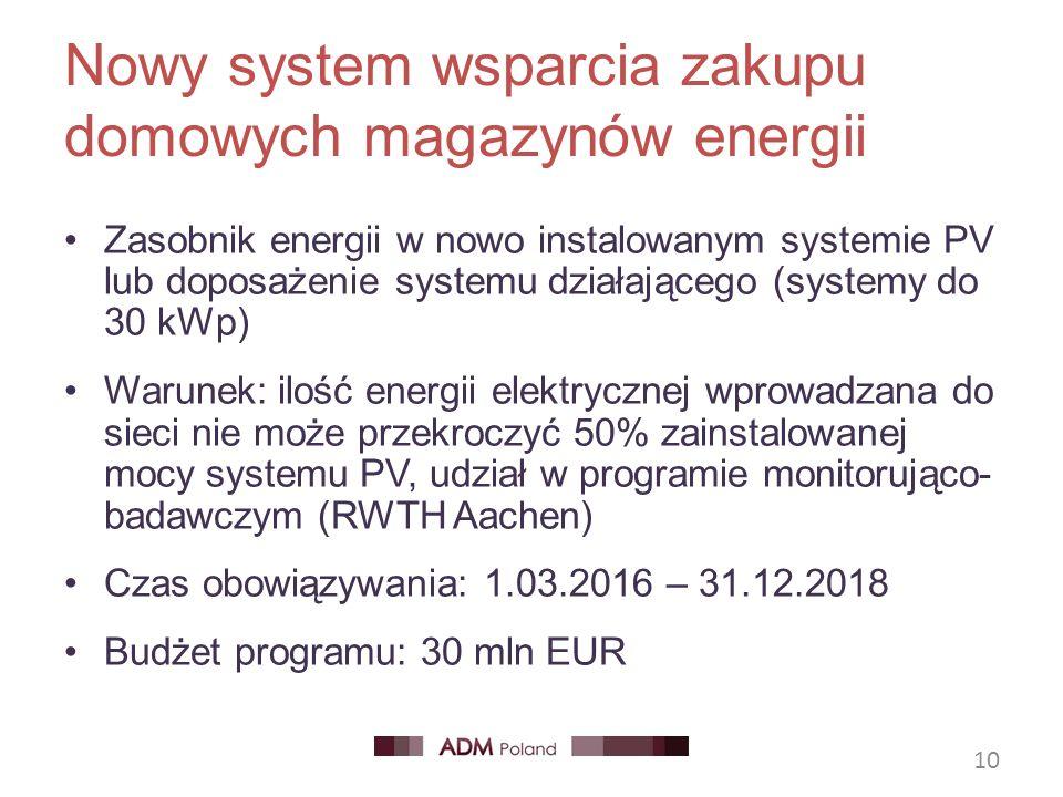 Nowy system wsparcia zakupu domowych magazynów energii Zasobnik energii w nowo instalowanym systemie PV lub doposażenie systemu działającego (systemy