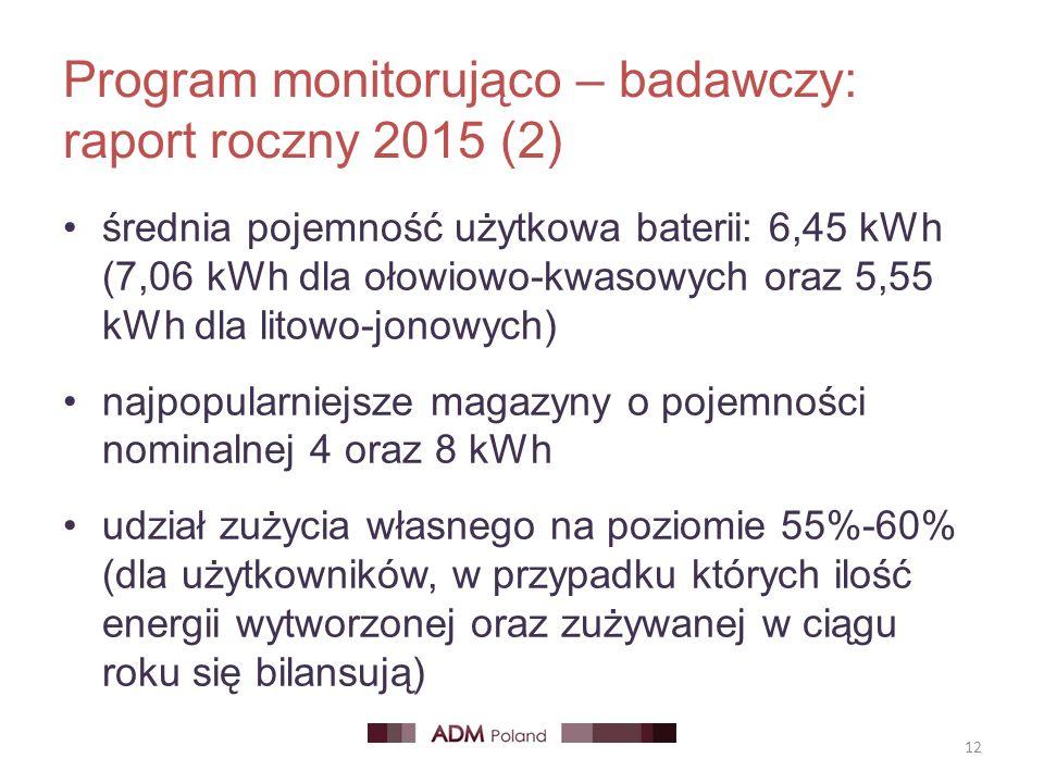 Program monitorująco – badawczy: raport roczny 2015 (2) średnia pojemność użytkowa baterii: 6,45 kWh (7,06 kWh dla ołowiowo-kwasowych oraz 5,55 kWh dl