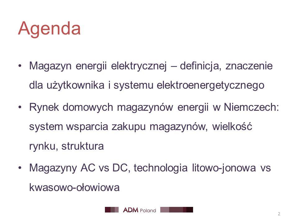 Agenda Magazyn energii elektrycznej – definicja, znaczenie dla użytkownika i systemu elektroenergetycznego Rynek domowych magazynów energii w Niemczech: system wsparcia zakupu magazynów, wielkość rynku, struktura Magazyny AC vs DC, technologia litowo-jonowa vs kwasowo-ołowiowa 2